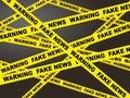 Fake News Yellow Warning Tape 3d Illustration