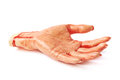 Fake severed hand isolated rubber as a halloween prank toy over the white background Stock Photos