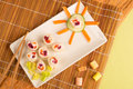 Fake sushi for kids food decorated for children Stock Photo