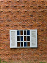 Fake white window on brick wall open wood big Stock Images