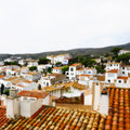 Faked tilt shift of view of Cadaques Stock Images