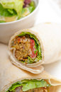 Falafel pita bread roll wrap sandwich traditional arab middle east food Stock Photo