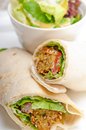 Falafel pita bread roll wrap sandwich traditional arab middle east food Stock Image