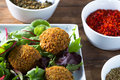 Falafels middle east cuisine a plate of delicious and hummus vegetarian fare Stock Photos