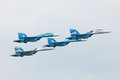 Falcons of russia zhukovsky aug аerobatic teams on planes su at the international aviation and space salon maks Royalty Free Stock Photography