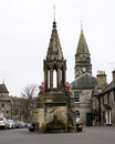 Falkland village a vertical image of bruce fountain in the square of Stock Photography