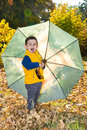 Fall. Adorable toddler boy of two years with umbrella in autumn Royalty Free Stock Photo