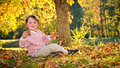 Fall or autumn portrait of young, preschooler boy Stock Photography