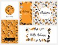 Fall, Autumn season vector illustration, invitation, banner, background set . Vector templates.