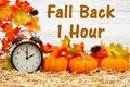 Fall Back 1 hour time change message with a retro alarm clock with pumpkins and fall leaves Royalty Free Stock Photo