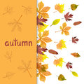 Fall background with watercolor autumn leaves.