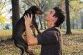 Fall boy and dog Stock Image