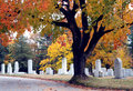 Fall cemetery scene Stock Photos