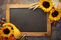 Fall chalkboard frame with pumpkins Royalty Free Stock Photo