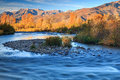 Fall color in the wasatch mountains morning at river usa Stock Photo
