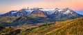 Fall colorful sunrise panorama in the Wasatch Mountains. Royalty Free Stock Photo