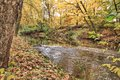 Fall colors on the coldwater river in kent county michigan Stock Photo