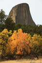 Fall Colors at Devils Tower Royalty Free Stock Photos