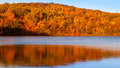 Fall colors foliage reflected on sheppard pond new jersey Stock Photo