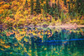 Fall colors in lakefront autumn reflection on colorful Stock Photography