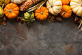 Fall copy space with pumpkins and corn Royalty Free Stock Photo