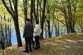 Fall day seniors enjoy a wonderful sunny at rursee in eifel germany Royalty Free Stock Photos