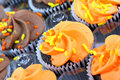 Fall decorated cupcakes in bakery tray. Stock Images
