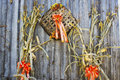 Fall decorations on the side of a wooden barn. Royalty Free Stock Photo