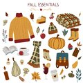 Fall essentials hand drawn autumn objects with sweater, scarf, blanket, leaf, backpack, coffee, glint wine, pumpkins, pumpkin pie. Royalty Free Stock Photo