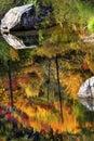 Fall Fire Orange Red Colors Reflection Wenatchee River Washington Royalty Free Stock Photo