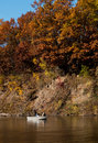 Fall fishing on the river men fish st joseph in michigan a beautiful day Royalty Free Stock Images