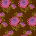 Fall flower seamless pattern. pink chrysanthemum Royalty Free Stock Photo