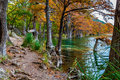 Fall foliage and clear water of garner state park texas beautiful surrounding the frio river Stock Photo