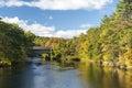 Fall foliage covered bridge Henniker New Hampshire Royalty Free Stock Photo