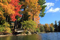 Fall Foliage in Lake Laurel, Berkshire, Massachusetts Royalty Free Stock Photo