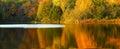 Fall foliage reflected on lake Royalty Free Stock Photo