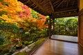 Fall Foliage in Ryoan-ji Temple in Kyoto Royalty Free Stock Photo