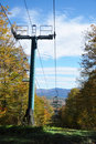 Fall Foliage and ski lift in New England Stock Photo