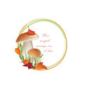 Fall frame with leaves and mushroom isolated on white background autumn circle shape toadstool illustration red amanita poisonous Stock Photography