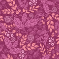 Fall garden seamless pattern background vector autumn with decorative plants on purple Royalty Free Stock Photography