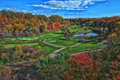 Fall golf course a beautiful view of the glen abbey in oakville ontario in full autumn colours Royalty Free Stock Photos