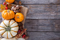 Fall harvest concept - nuts and pumpkins Royalty Free Stock Photo