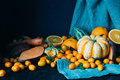 Fall Harvest on the Dark Wooden Table, Beautiful Autumn Background using for Wallpaper Royalty Free Stock Photo