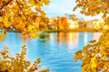 Fall landscape. Autumn cityscape. View from the park across the Royalty Free Stock Photo