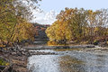 Fall Landscape Scene on a River Stock Images