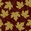 Fall leaf seamless pattern. Autumn foliage. Repeating golden color design.
