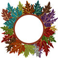 Fall Leaves Circle Frame Stock Image