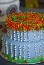 Fall Leaves Decorated Cake with Two Tiers Royalty Free Stock Photo