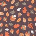 Fall leaves seamless vector pattern purple orange