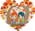 Fall in love boy and girl holding hands autumn woods Royalty Free Stock Photography